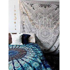 Queen Size HAMSA Gray Black Cotton Tapestry NEW